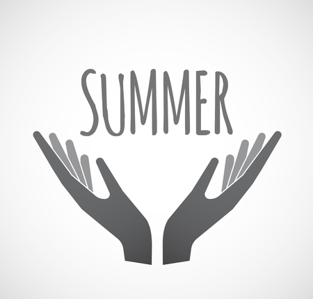 Illustration of two hands offering with    the text SUMMER Illustration