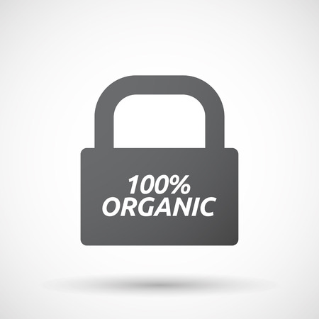 bio safety: Illustration of an isolated closed lock pad icon with    the text 100% ORGANIC
