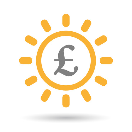 Illustration of an isolated  line art sun icon with a pound sign Illustration