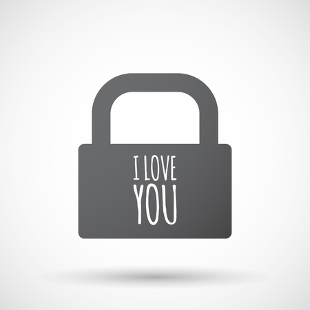 Illustration of an isolated closed lock pad icon with    the text I LOVE YOU Illustration