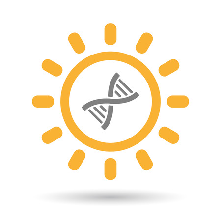 Illustration of an isolated  line art sun icon with a DNA sign
