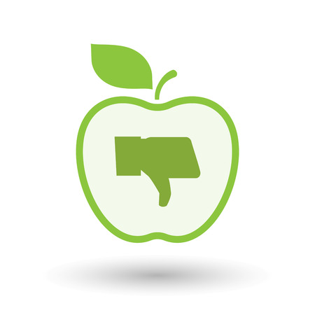 bad apple: Illustration of an isolated  line art apple icon with a thumb down hand Illustration