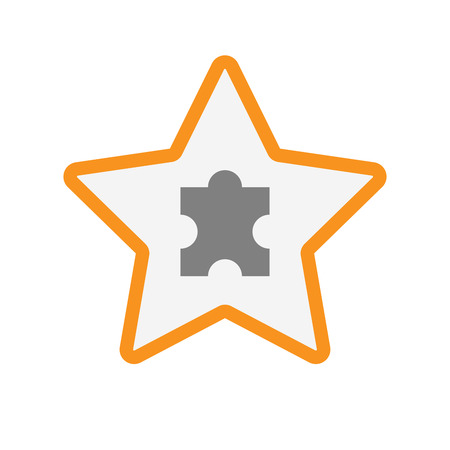 art piece: Illustration of an isolated  line art star icon with a puzzle piece