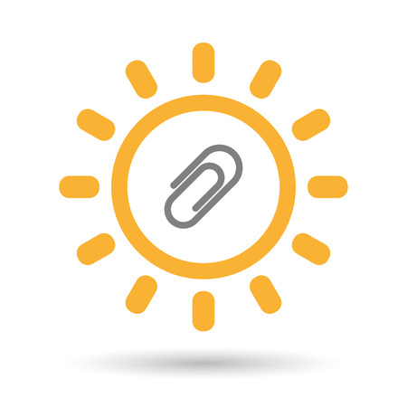 Illustration of an isolated  line art sun icon with a clip