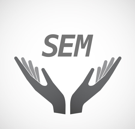 sem: Illustration of two hands offering with    the text SEM