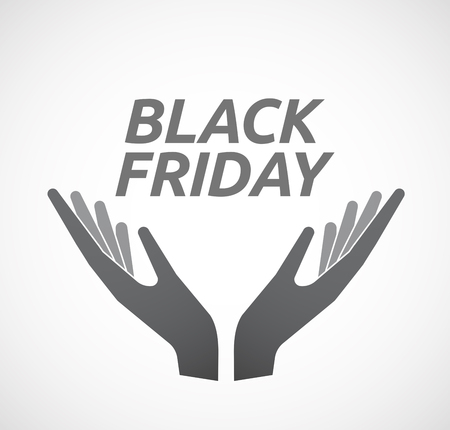 ease: Illustration of two hands offering with    the text BLACK FRIDAY Illustration