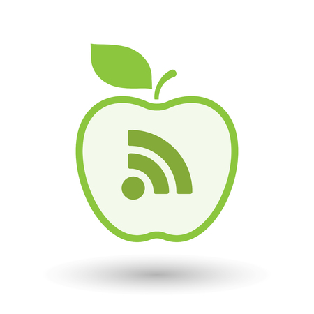 really simple syndication: Illustration of an isolated  line art apple icon with an RSS sign Illustration
