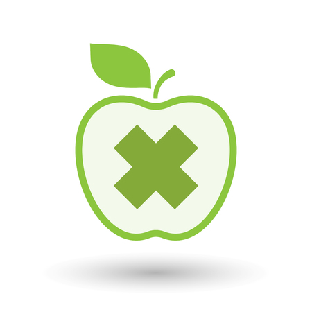 corrosive: Illustration of an isolated  line art apple icon with an irritating substance sign Illustration
