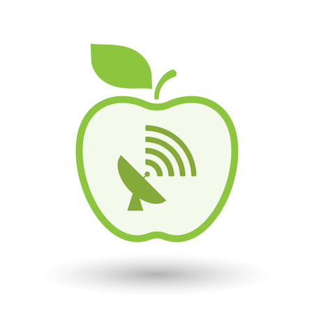 Illustration of an isolated  line art apple icon with a satellite dish Illustration