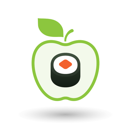 art piece: Illustration of an isolated  line art apple icon with a piece of sushi maki