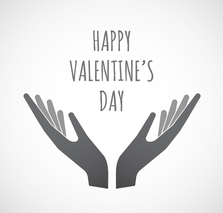 Illustration of two hands offering with    the text HAPPY VALENTINES DAY Illustration
