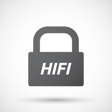 hifi: Illustration of an isolated closed lock pad icon with    the text HIFI
