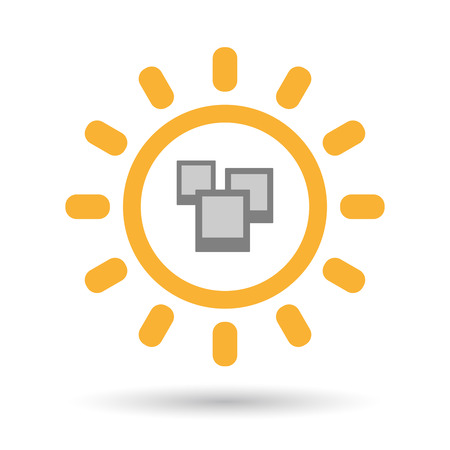 few: Illustration of an isolated  line art sun icon with a few photos