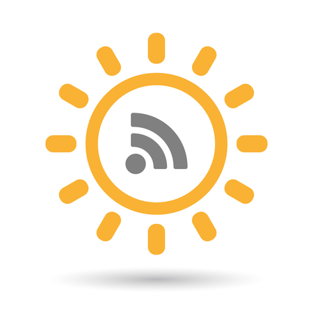 Illustration of an isolated  line art sun icon with an RSS sign