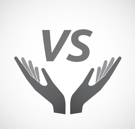 Illustration of two hands offering with    the text VS