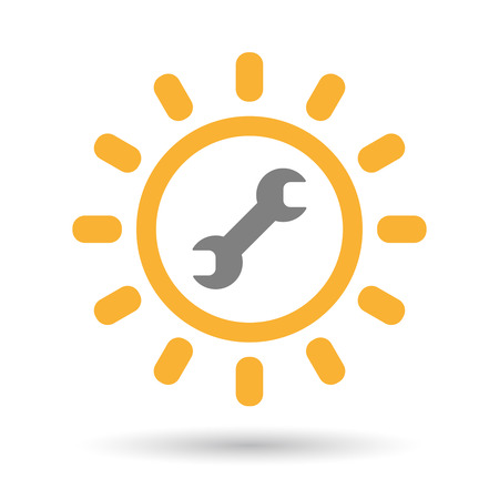 llave de sol: Illustration of an isolated  line art sun icon with a wrench