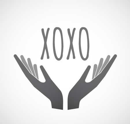 xoxo: Illustration of two hands offering with    the text XOXO Illustration