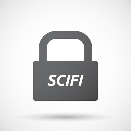 speculate: Illustration of an isolated closed lock pad icon with    the text SCIFI Illustration