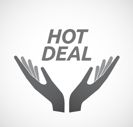 hot deal: Illustration of two hands offering with    the text HOT DEAL