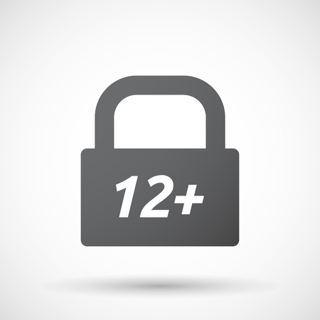number twelve: Illustration of an isolated closed lock pad icon with    the text 12+