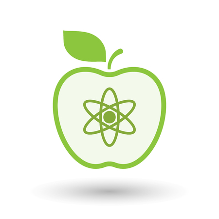food science: Illustration of an isolated  line art apple icon with an atom Illustration