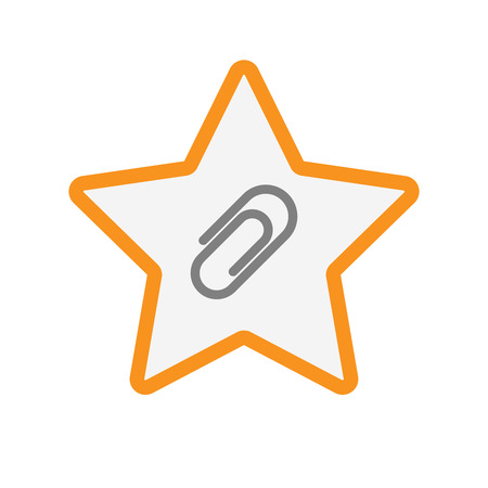 Illustration of an isolated  line art star icon with a clip Illustration