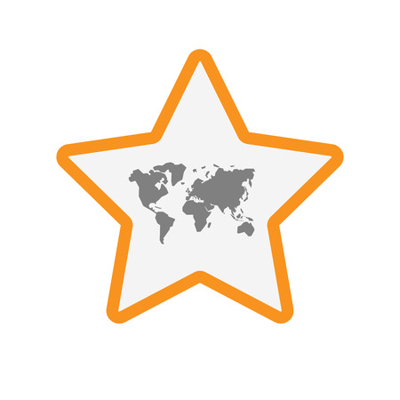 Illustration of an isolated  line art star icon with a world map Illustration