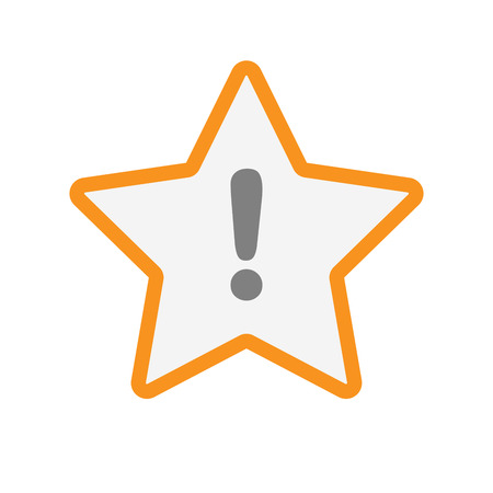 Illustration of an isolated  line art star icon with an exclamarion sign