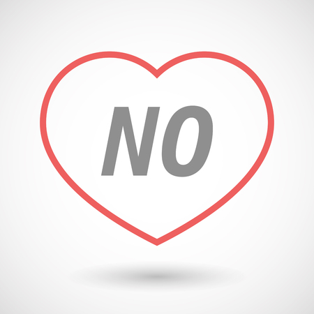 denial: Illustration of an isolated line art heart icon with    the text NO