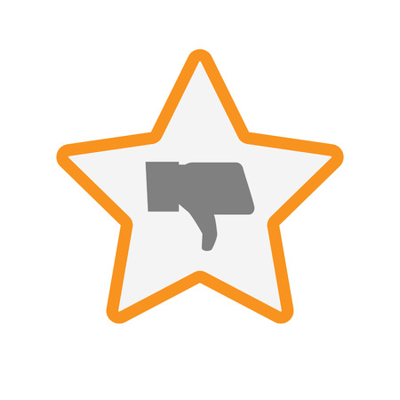 Illustration of an isolated  line art star icon with a thumb down hand