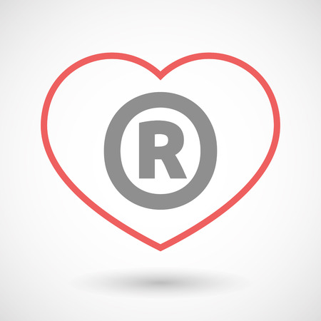 Illustration Of An Isolated Line Art Heart Icon With The Registered