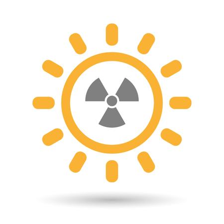 radiacion solar: Ilustración de un icono aislado sol arte de línea con un signo de actividad de radio
