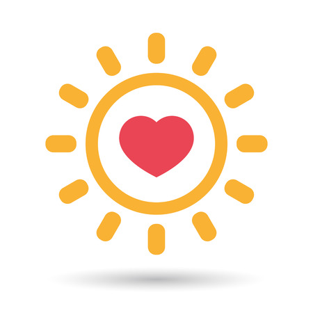 Illustration of an isolated  line art sun icon with a heart