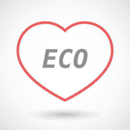 passion  ecology: Illustration of an isolated line art heart icon with    the text ECO