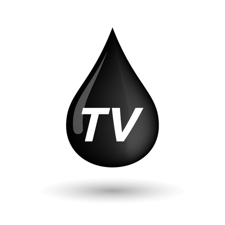 tv station: Illustration of an isolated oil drop icon with    the text TV Illustration
