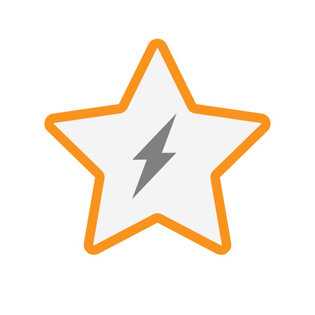 energy ranking: Illustration of an isolated  line art star icon with a lightning