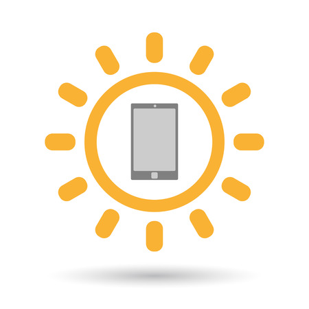 Illustration of an isolated  line art sun icon with a smart phone