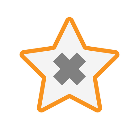 corrosive poison: Illustration of an isolated  line art star icon with an irritating substance sign
