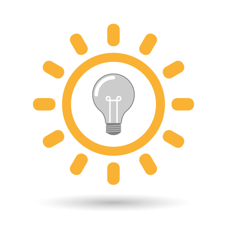 Illustration of an isolated  line art sun icon with a light bulb