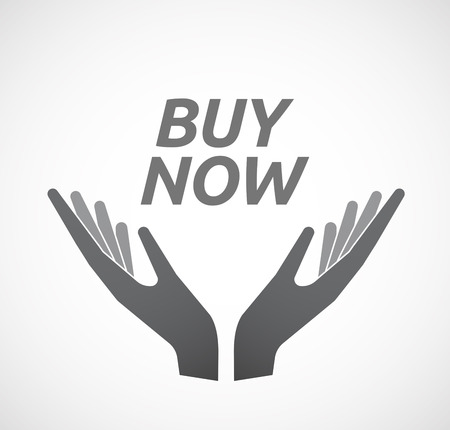 Illustration of two hands offering with    the text BUY NOW