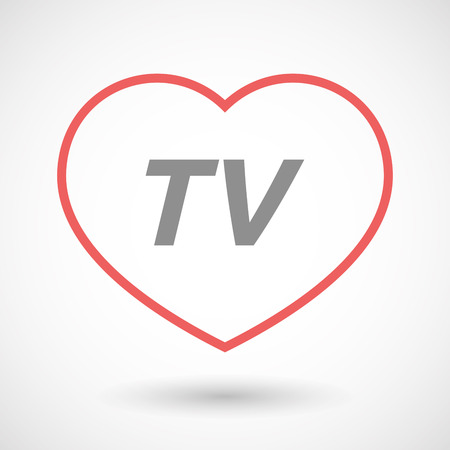 Illustration of an isolated line art heart icon with    the text TV Illustration