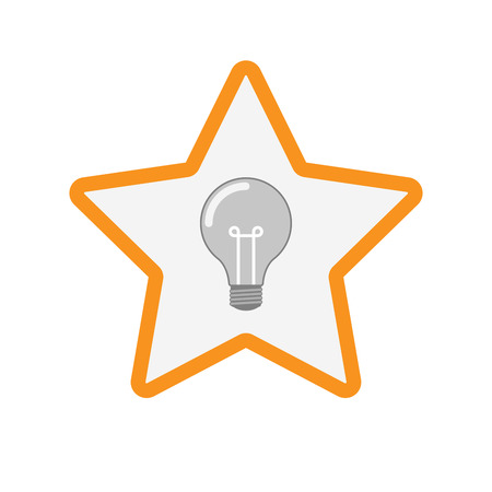 Illustration of an isolated  line art star icon with a light bulb