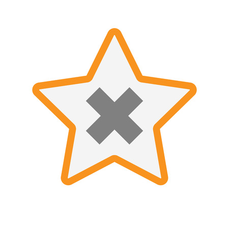 Illustration of an isolated  line art star icon with an x sign