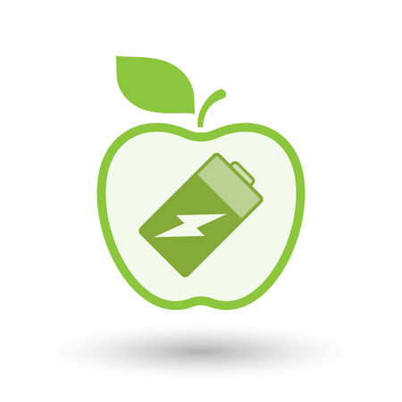 Illustration of an isolated  line art apple icon with a battery Illustration