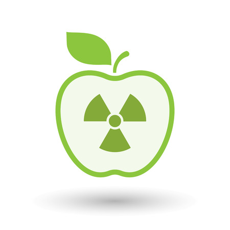 food poison: Illustration of an isolated  line art apple icon with a radio activity sign Illustration