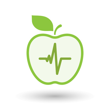 Illustration of an isolated  line art apple icon with a heart beat sign