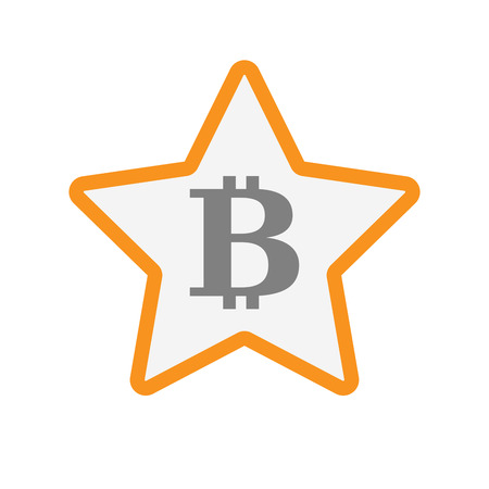 p2p: Illustration of an isolated  line art star icon with a bit coin sign