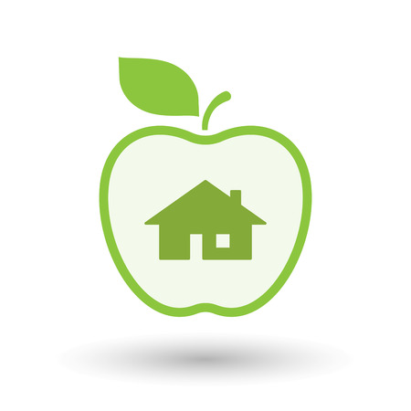 Illustration of an isolated  line art apple icon with a house Illustration