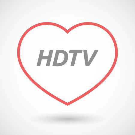 hdtv: Illustration of an isolated line art heart icon with    the text HDTV Illustration