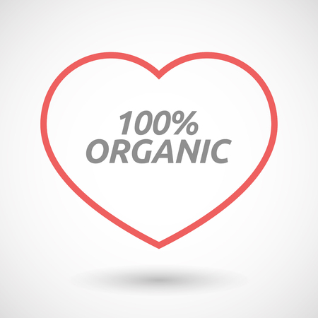 passion ecology: Illustration of an isolated line art heart icon with    the text 100% ORGANIC